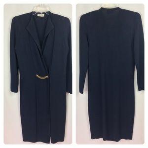 St. John Navy Blue Coat Dress Vintage Midi Santana